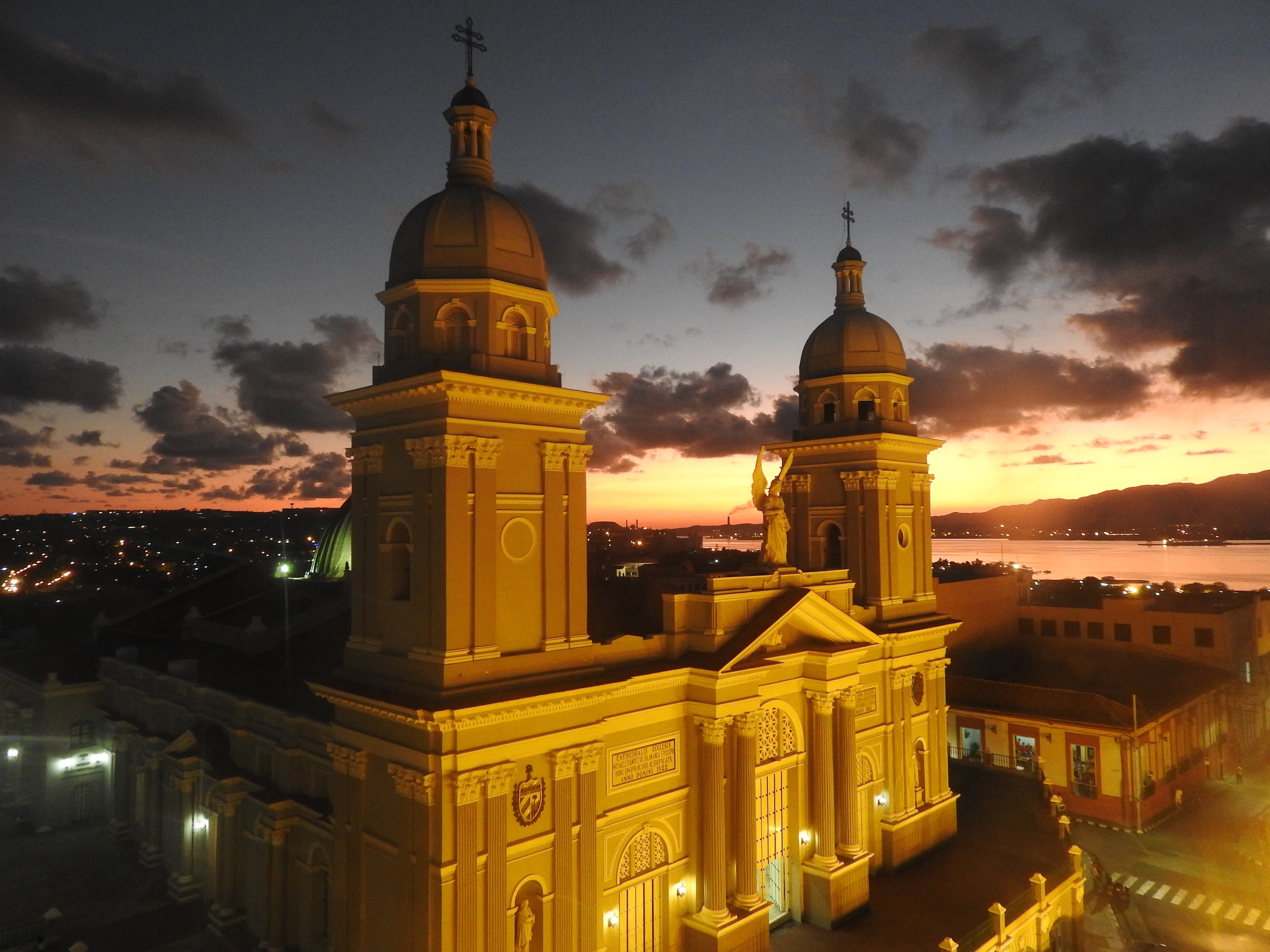 Santiago de Cuba Cathedral at night